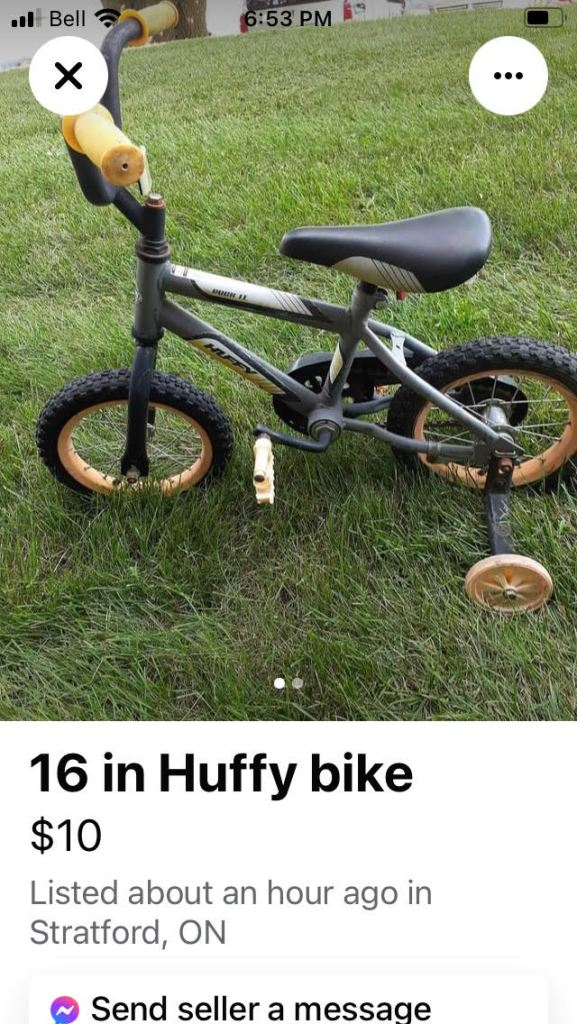 Photo of a child's bicycle with the description Huffy bike