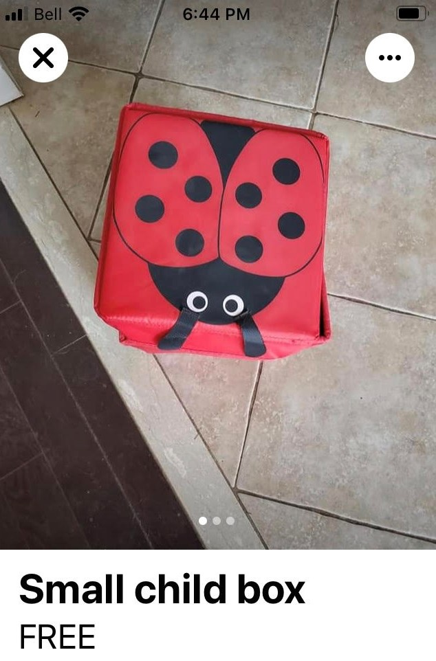 Ad that says Small Child Box